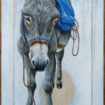 Donkey with a pack on an old board – 55 x 108 cm – sold