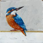 Kingfisher on a golden line – 12 x 12 cm – sold