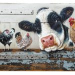 On commission – Cow with chickens and a rooster – 122 x 66 cm