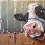 Cow with birds – 90 x 59 cm – on commission