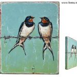 Twee zwaluwen – 15 x 18 cm – verkocht