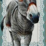 Ezel met kant (op een kastdeurtje) – 57 x 152 cm – Verkocht