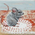 On commission – Mouse on the table 1 – 7 x 7 cm