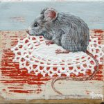On commission – Mouse on the table 2 – 7 x 7 cm