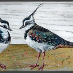 Lapwings with chick gold – 23 x 13 cm – sold