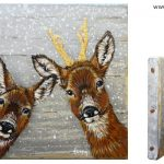 Roedeer and roebuck – 13 x 13 cm – sold (antler is golden coloured)