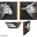 Sheep 1 & 2 – à 18 x 18 cm – both sold
