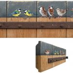 Door with sparrows and coal tits – 51 x 18 cm – sold