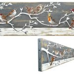 On commission – Sparrows and a robin on a branch – 70 x 19 cm